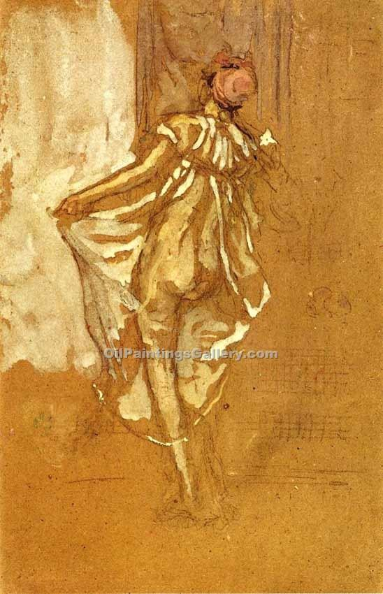 Dancing Woman in a Pink Robe by Whistler James McNeill | Online Gallery - Oil Paintings Gallery
