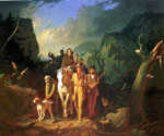 Daniel Boone Escorting Settlers through the Cumberland Gap by  George Caleb Bingham (Painting ID: LA-2353-KA)