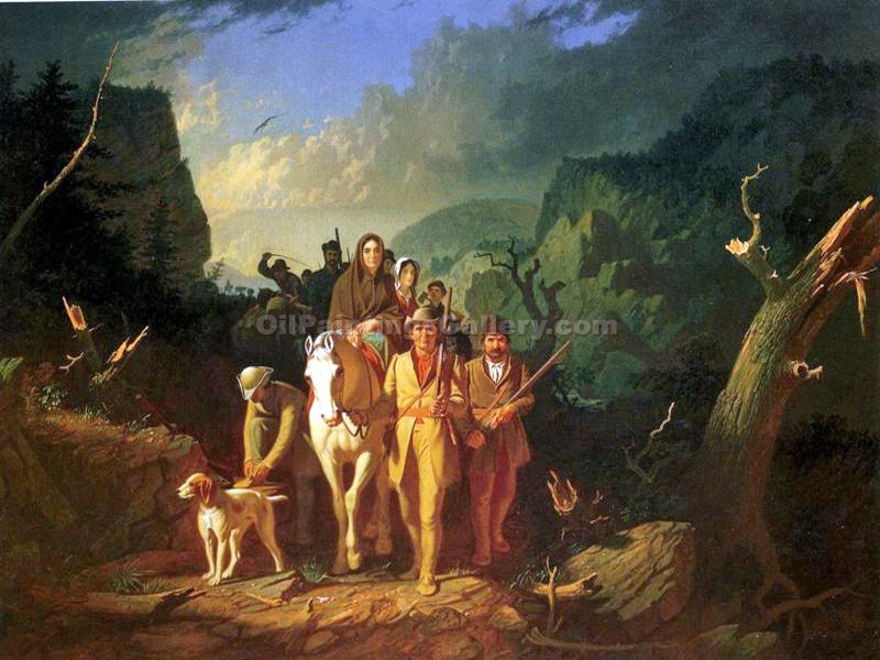 Daniel Boone Escorting Settlers through the Cumberland Gap by George CalebBingham | Contemporary Art Paintings - Oil Paintings Gallery