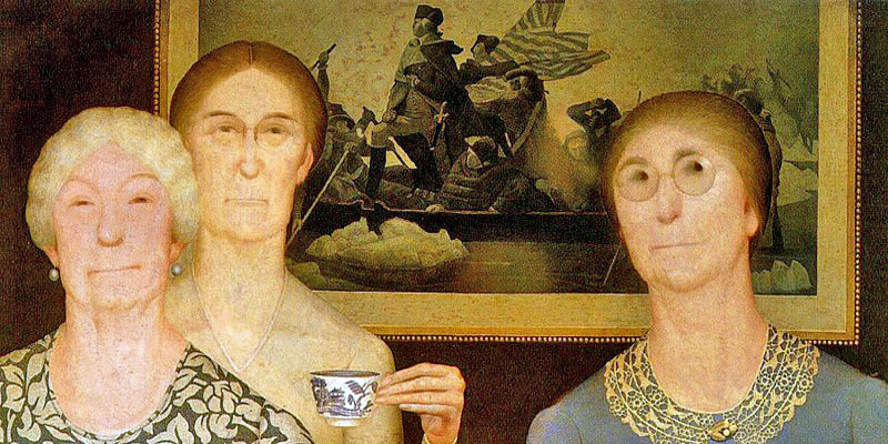 """Daughters of the Revolution"" by  Grant Wood"