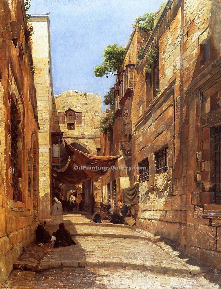 David street in jerusalem by gustav bauernfeind painting for Israeli artists oil paintings