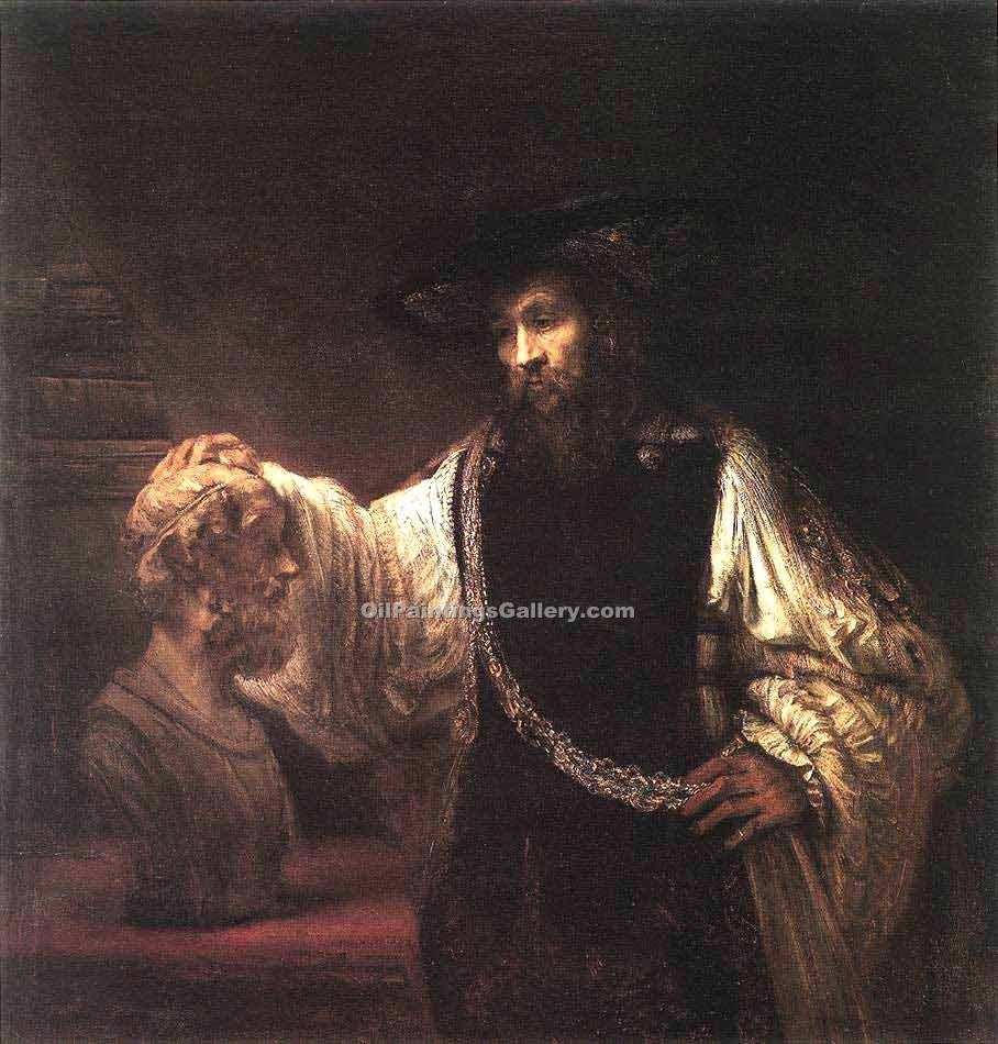 """Aristotle with a Bust of Homer"" by  Harmenszoonvan Van Rijn Rembrandt"