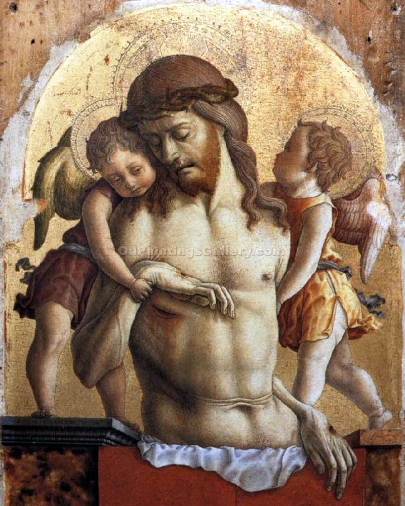 """Dead Christ Supported by Two Angels"" by  Carlo Crivelli"