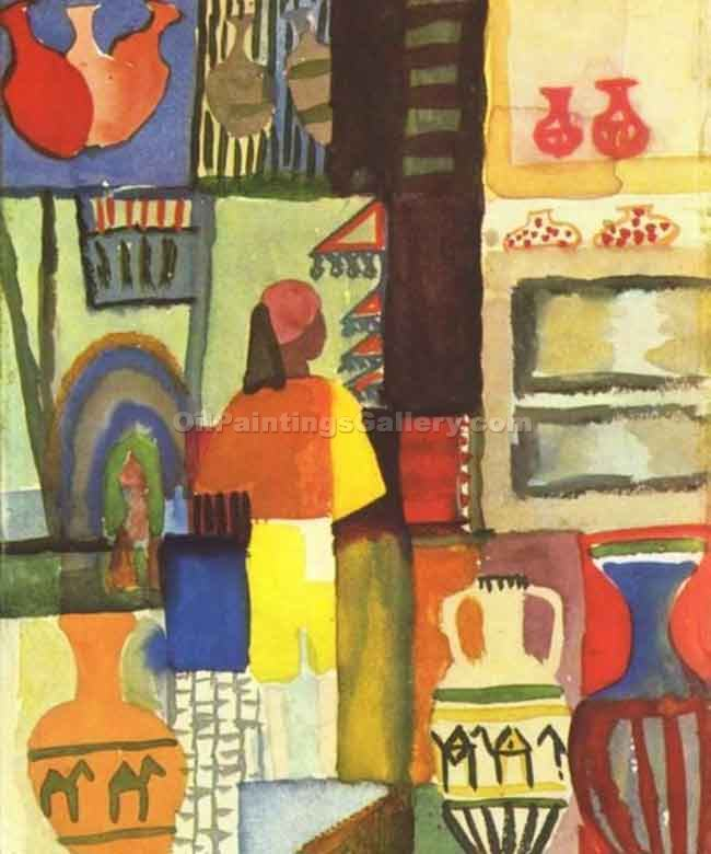 """Dealer with Pitchers"" by  August Macke"