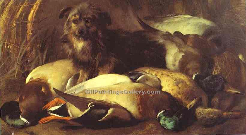 """Decoyman s Dog and Duck"" by  Sir Edwin Henry Landseer"