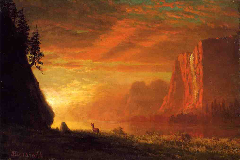 """Deer at Sunset"" by  Albert Bierstadt"