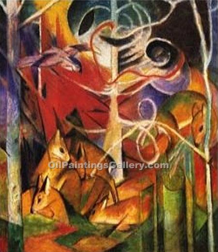 """Deer in the Forest"" by  Franz Marc"