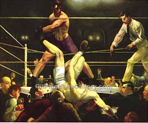 Dempsey and Firpo by George Bellows | Handmade Oil Paintings - Oil Paintings Gallery