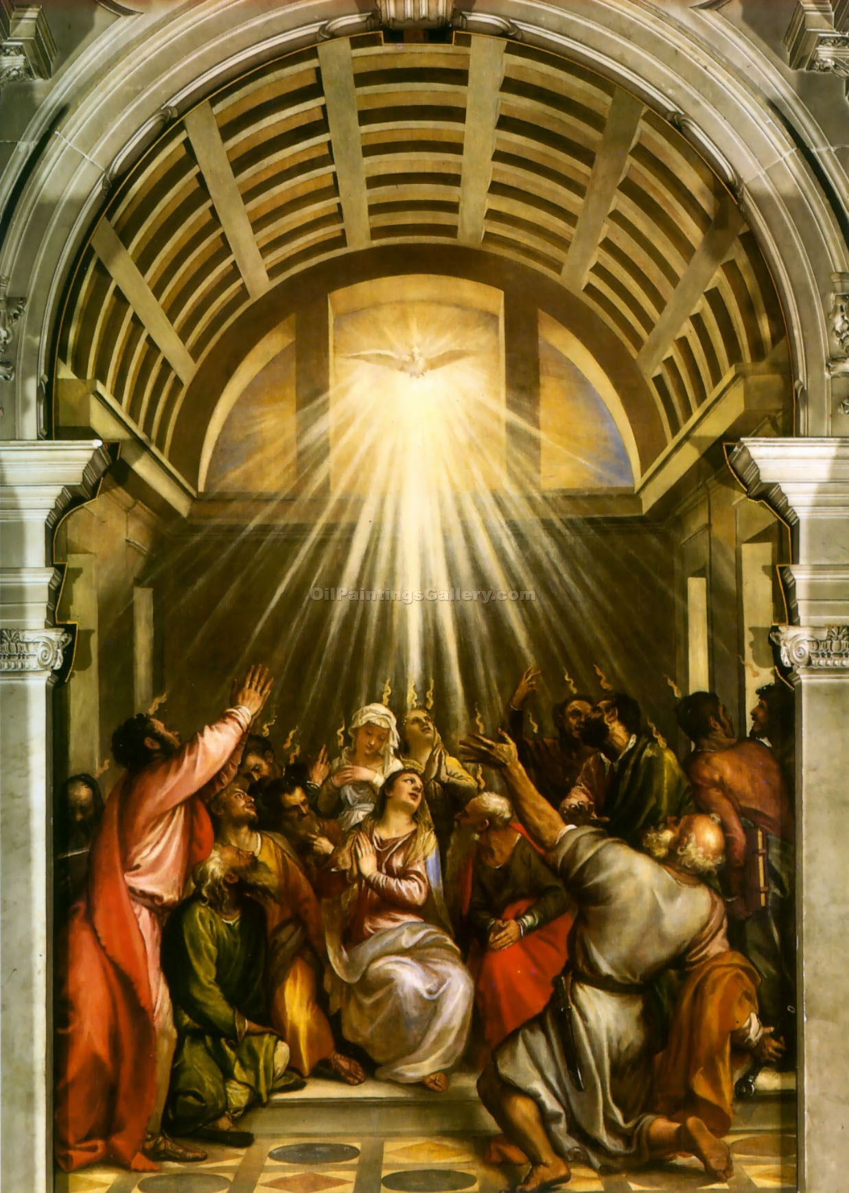 """Descent of the Holy Ghost"" by   Titian"