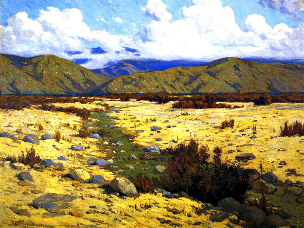 """Desert, River, Mountains"" by  Elmer Wachtel"