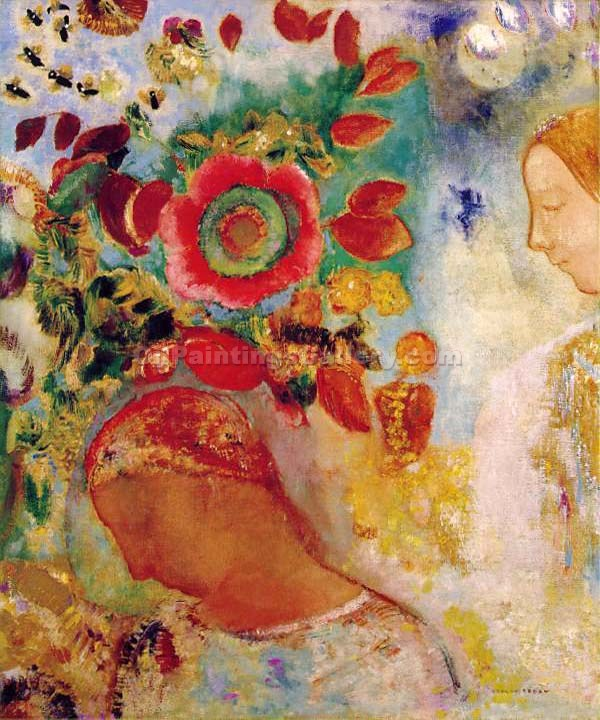 Deux Jeunes by Redon Odilon | Custom Made Paintings - Oil Paintings Gallery