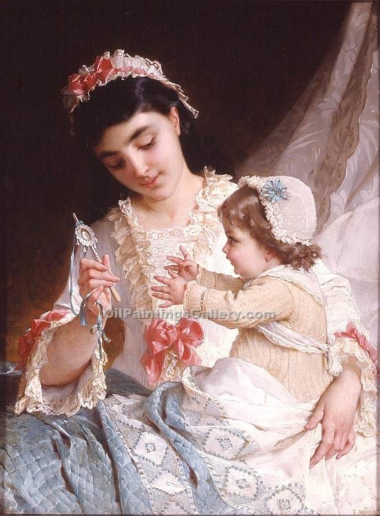 """Distracting the ba"" by  Emile Munier"