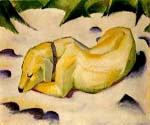 Dog Lying in Snow by  Franz Marc (Painting ID: AN-0301-KA)