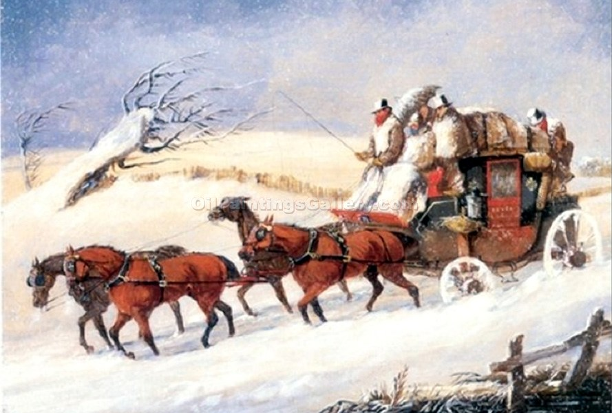 """Dover to London Coach in Winter"" by  Samuel Henry Alchen"