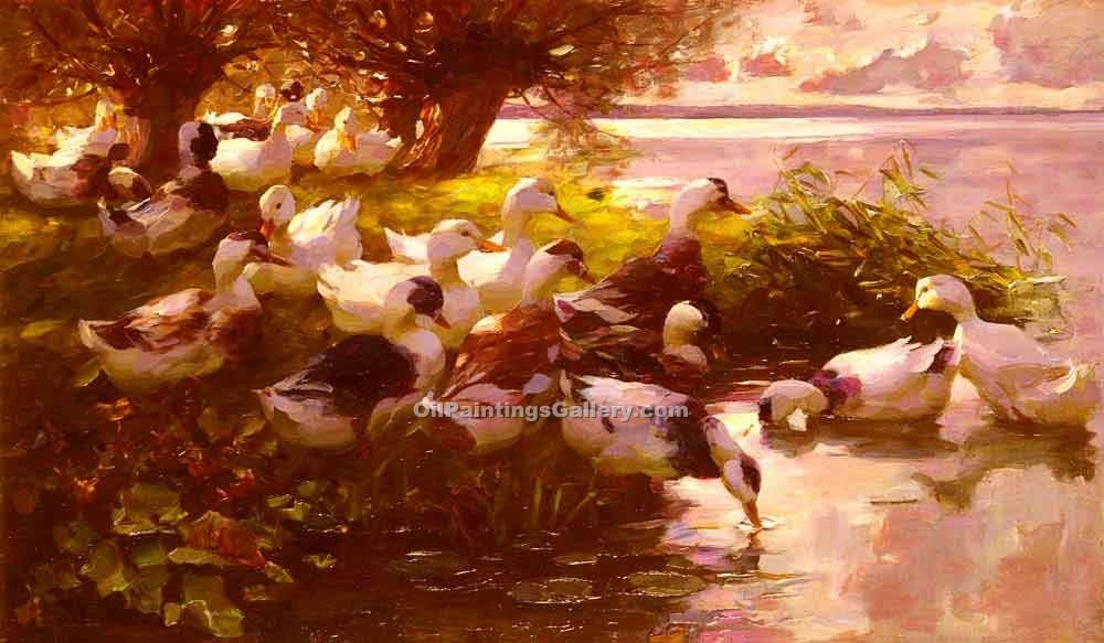 Ducks on a Lake by Alexander Koester | Custom Made Paintings - Oil Paintings Gallery