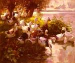 Ducks on a Lake by  Alexander Koester (Painting ID: AN-0976-KA)