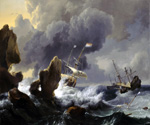 Dutch Ships in Distress Off A Rocky Coast by  Ludolf Backhuysen (Painting ID: LA-0477-KA)