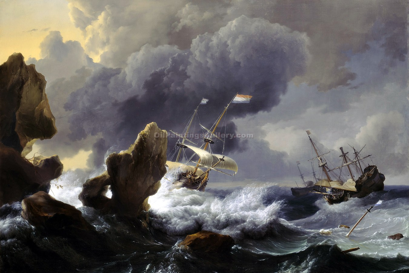 Dutch Ships in Distress Off A Rocky Coast by Ludolf Backhuysen | Art Paintings For Sale - Oil Paintings Gallery