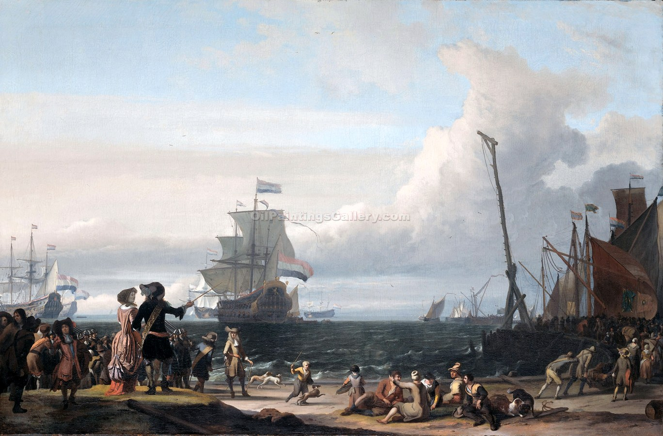 Dutch Ships in the Roadstead of Texel by Ludolf Backhuysen | Art Reproductions - Oil Paintings Gallery