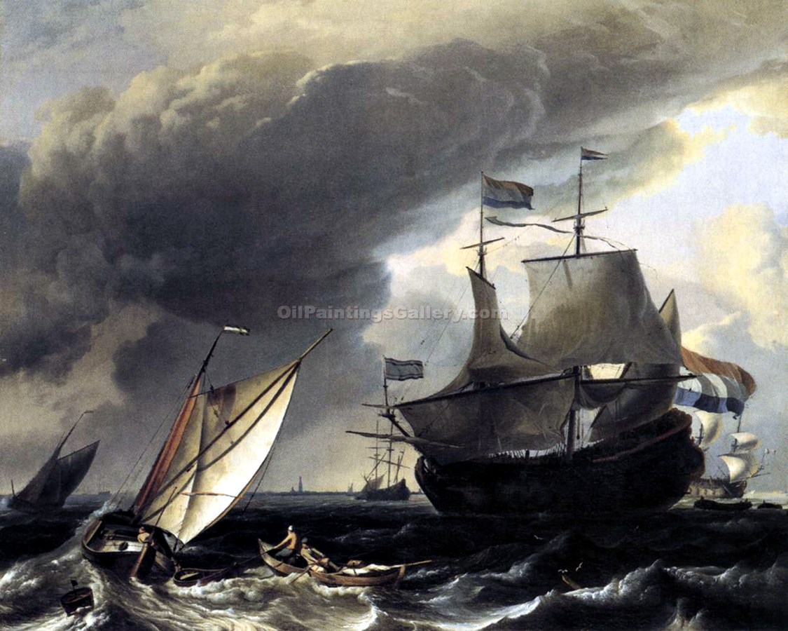 Dutch Vessels on the Sea at Amsterdam by Ludolf Backhuysen | Art Online Store - Oil Paintings Gallery