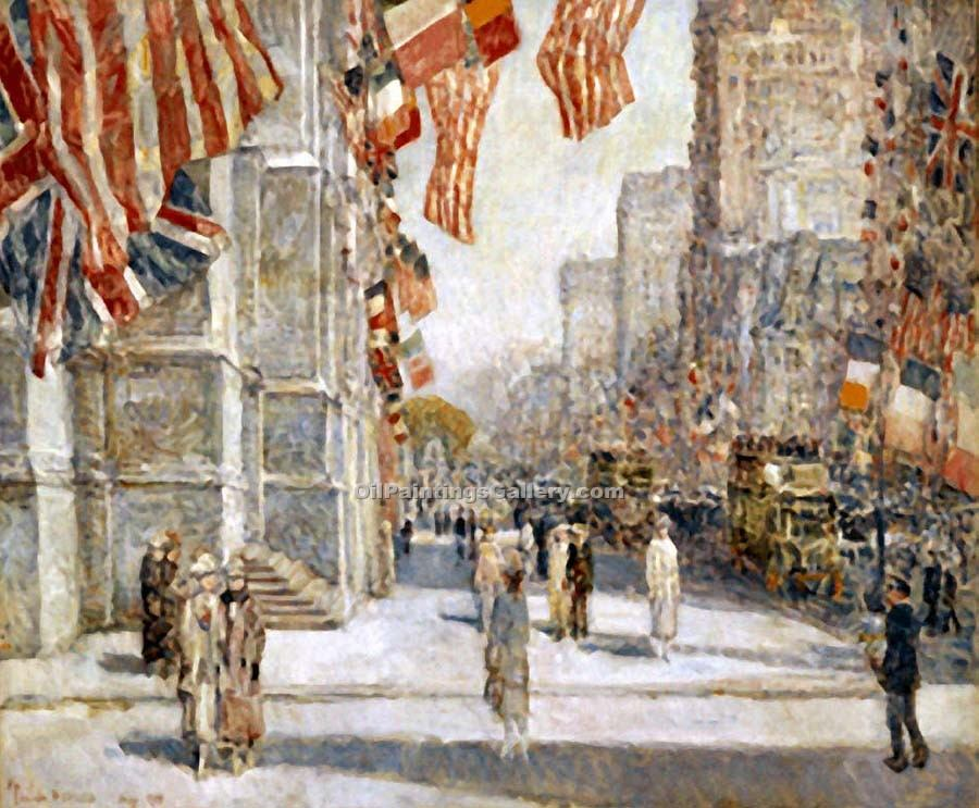 """Early Morning on the Avenue in May 1917"" by  Frederick Childe Hassam"