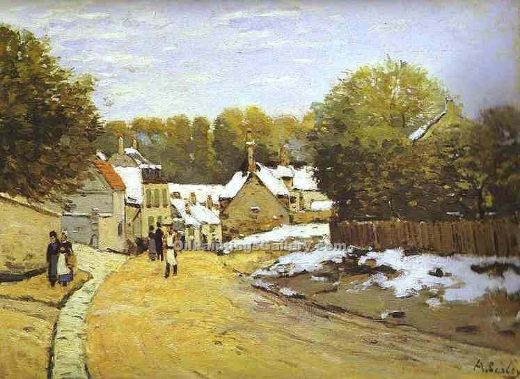Early Snow at Louveciennes by Alfred Sisley | Paintings Of Famous Artists - Oil Paintings Gallery