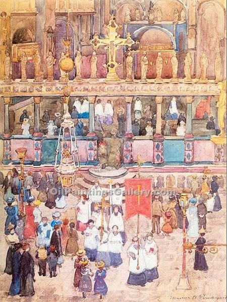 """Easter Procession St. Mark s"" by  Maurice Brazil Prendergast"
