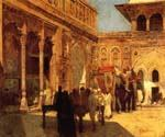 Elephants and Figures in a Courtyard Fort Agra by  Edwin Lord Weeks (Painting ID: GE-1272-KA)