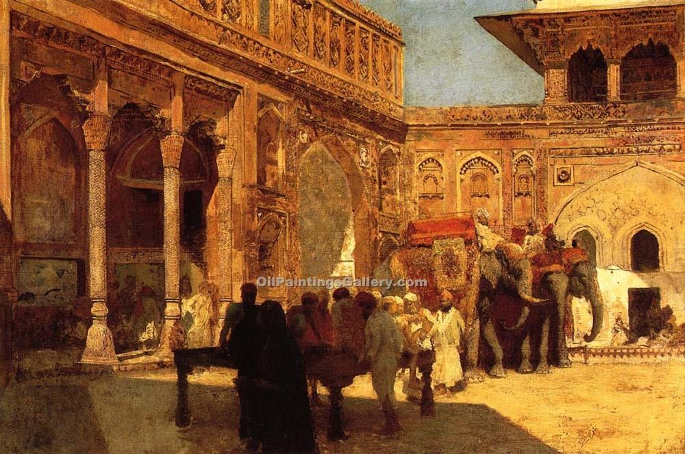 """Elephants and Figures in a Courtyard Fort Agra"" by  Edwin Lord Weeks"