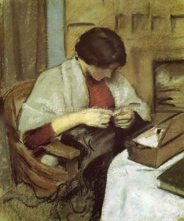 """Elisabeth Gerhardt Sewing"" by  August Macke"