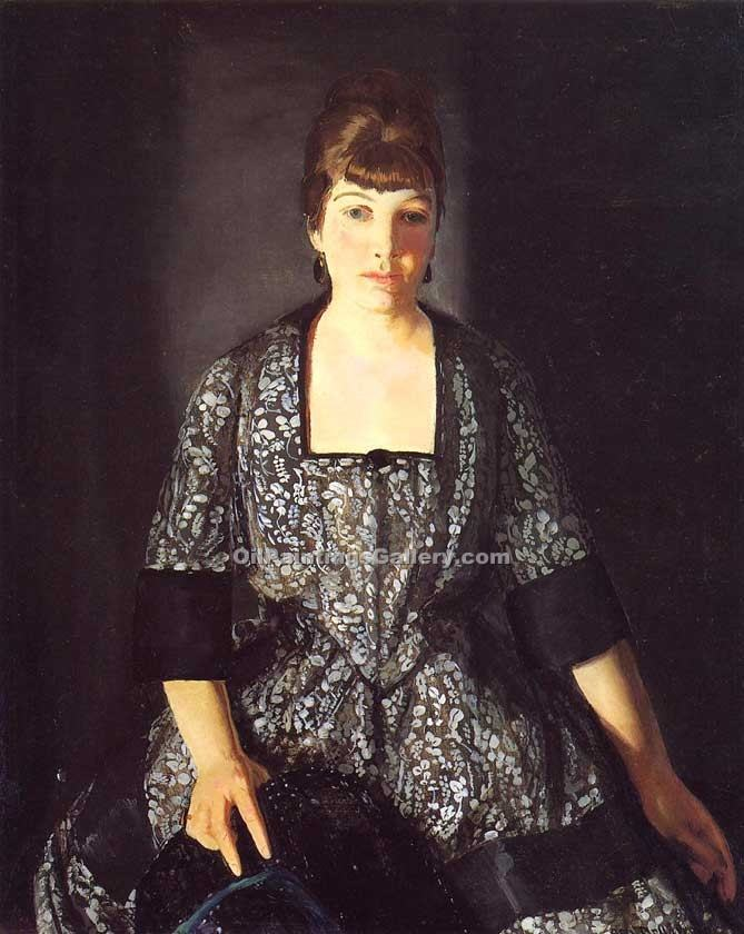 Emma in the Black Print by George Bellows | Paintings Reproductions - Oil Paintings Gallery