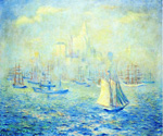 Entering New York Harbor by Theodore Earl Butler (Painting ID: LA-0652-KA)