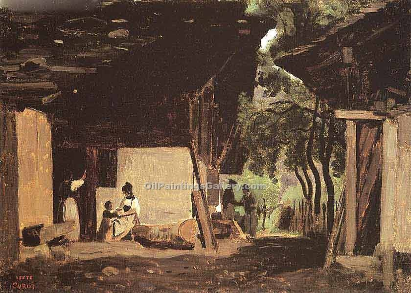 """Entrance to a Chalet in the Bernese Oberland"" by  Jean Baptiste Corot"