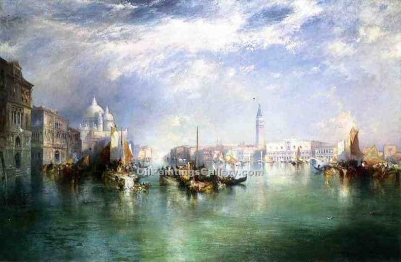 Entrance to the Grand Canal Venice by Thomas Moran | Contemporary Abstract Painting - Oil Paintings Gallery