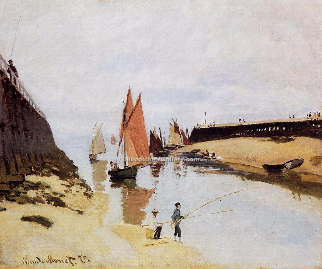 """Entrance to the Port of Trouville"" by  Claude Monet"