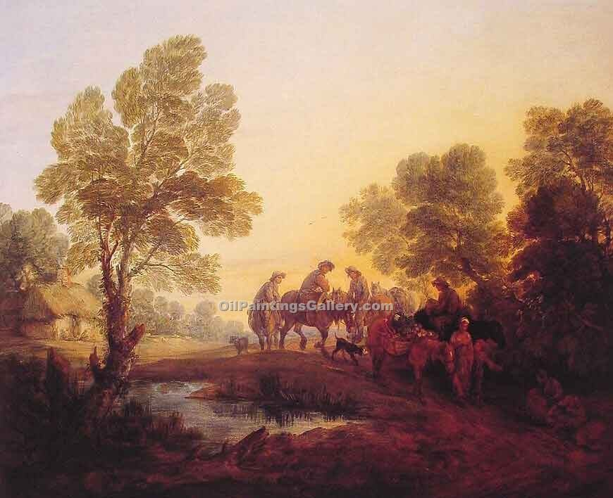 """Evening  Landscape Peasants and Mounted Figures"" by  Thomas Gainsborough"