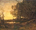 Evening Distant Tower by  Jean Baptiste Corot (Painting ID: CO-0922-KA)