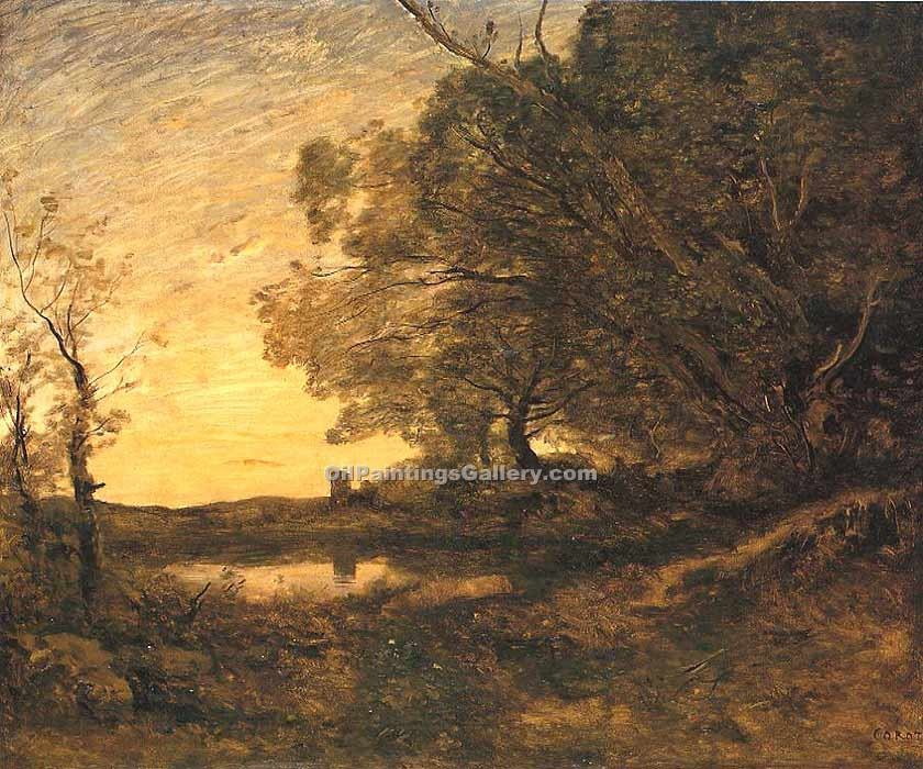 """Evening Distant Tower"" by  Jean Baptiste Corot"