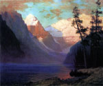 Evening Glow, Lake Louise by  Albert Bierstadt (Painting ID: LA-3347-KA)