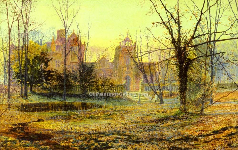 """Evening, Knostrop Old Hall"" by  John Atkinson Grimshaw"