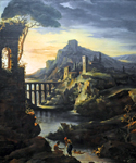 Evening Landscape with an Aquaduct by  Theodore Gericault (Painting ID: LA-0867-KA)