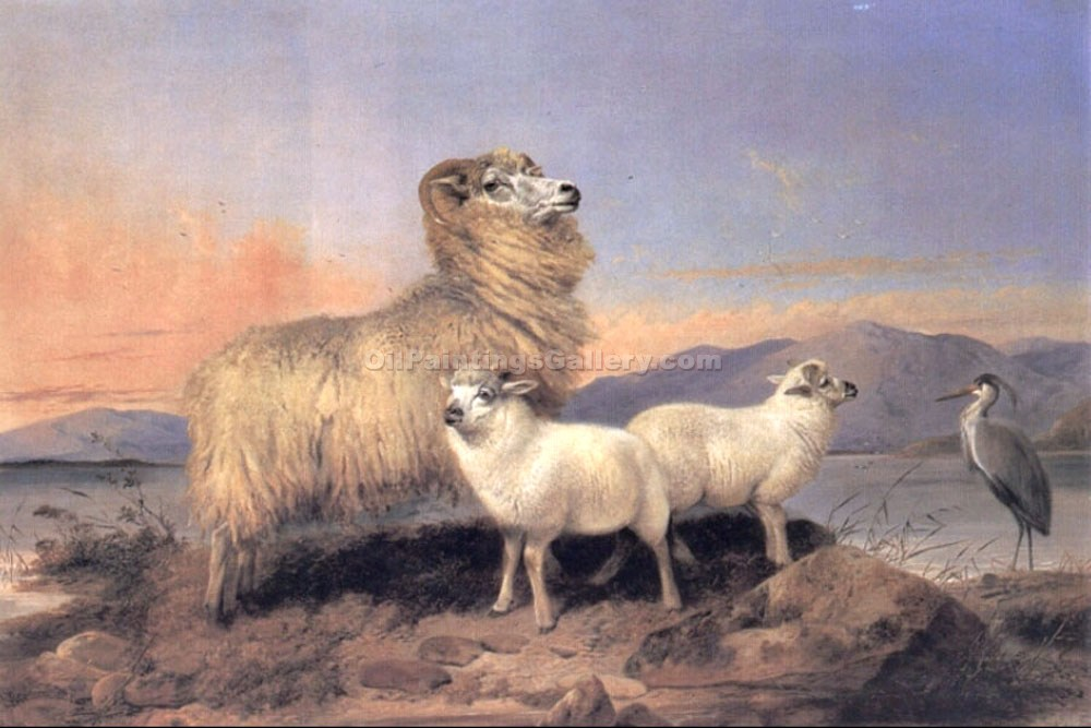 """Ewe with Lambs and a Heron Beside a Loch"" by  Richard Ansdell"