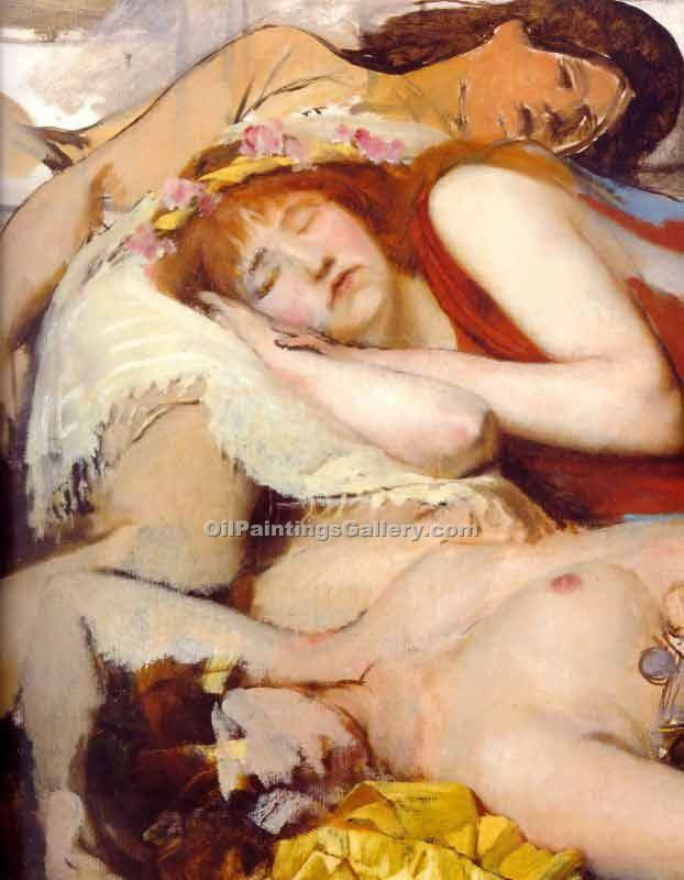 Exhausted Maenides after the Dance by Sir LawrenceAlma Tadema | Online Canvas Painting - Oil Paintings Gallery