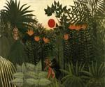 Exotic Landscape Fight between Gorilla and Indian by  Henri Rousseau (Painting ID: RO-0178-KA)