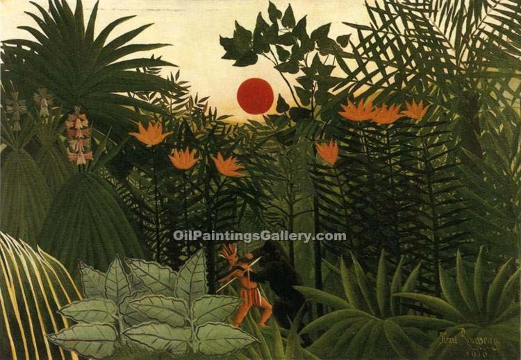 """Exotic Landscape Fight between Gorilla and Indian"" by  Henri Rousseau"