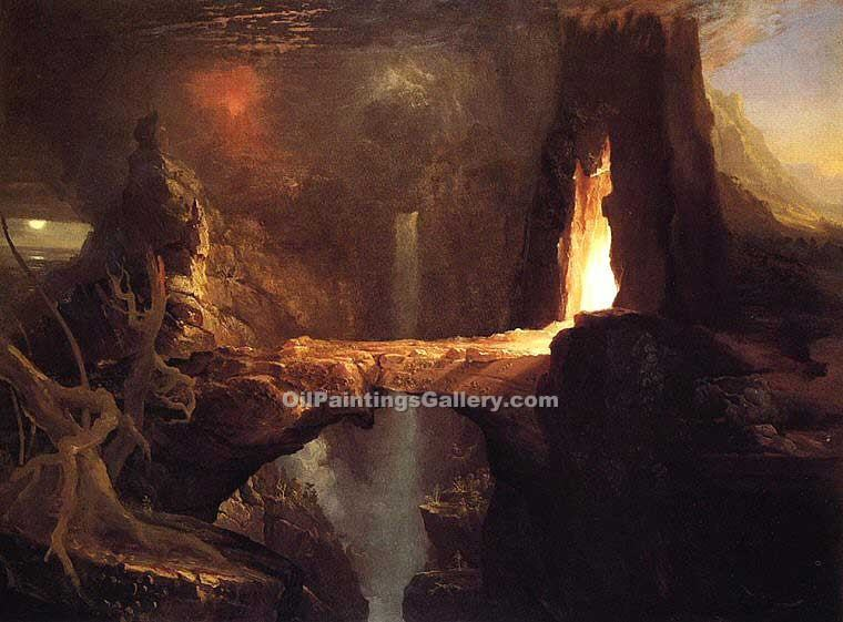 """Expulsion Moon and Firelight"" by  Thomas Cole"