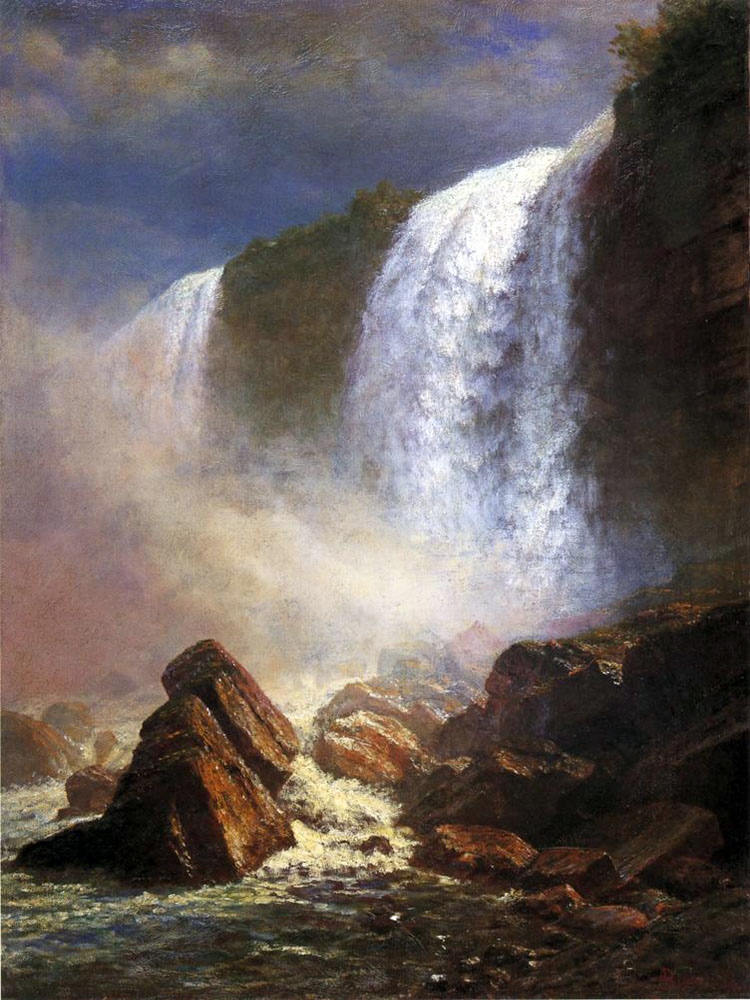 """Falls of Niagara From Below"" by  Albert Bierstadt"