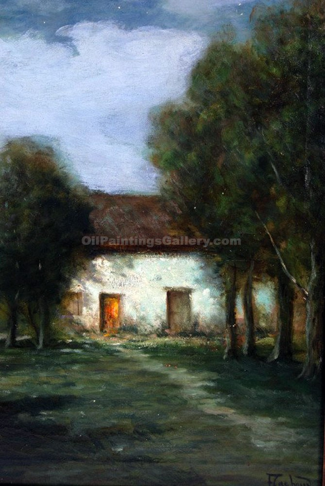 """Farm House in Moonlight"" by  Francois Cachoud"