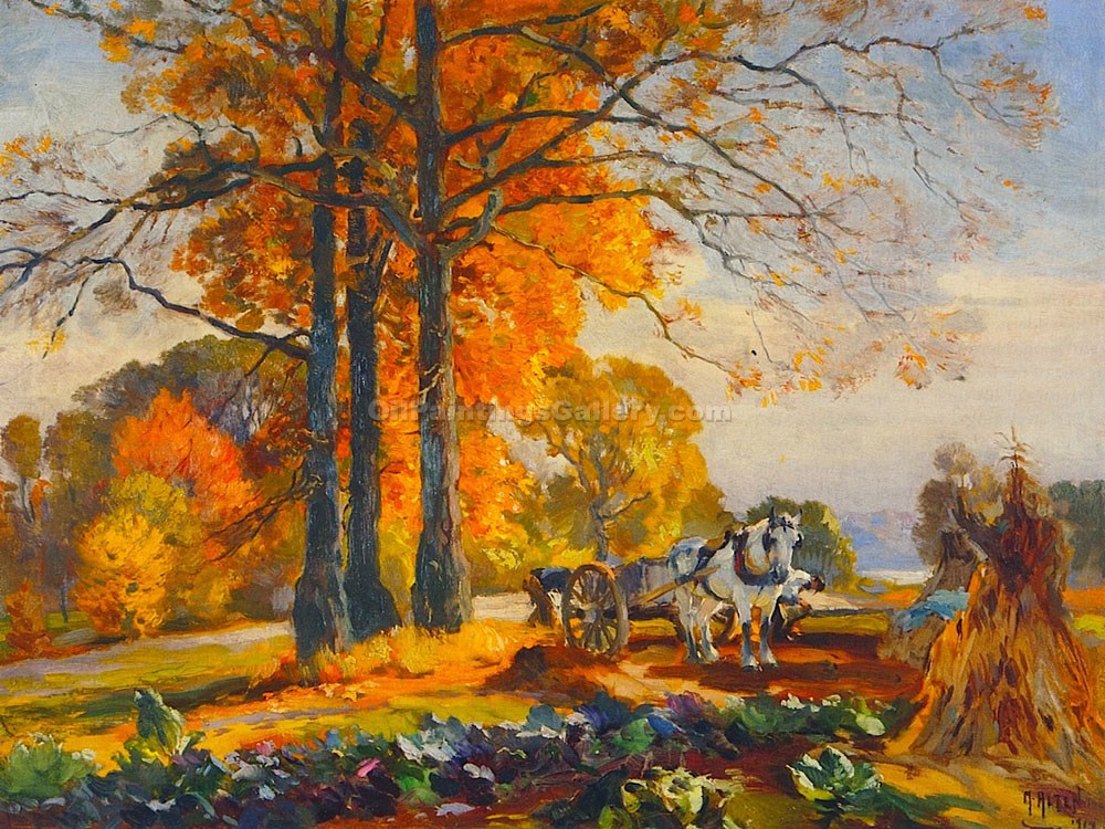 """Farmers with Horse Cart"" by  Mathias J. Alten"