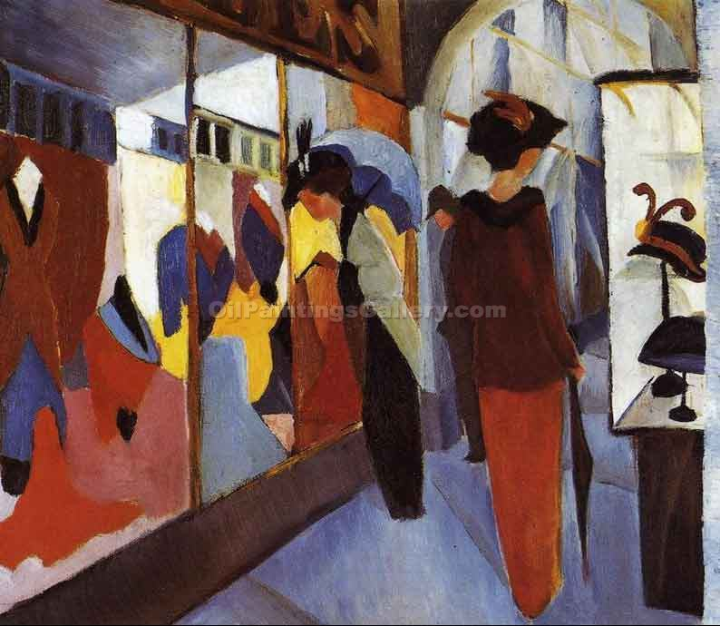 Fashion Shop by August Macke | Family Portraits - Oil Paintings Gallery